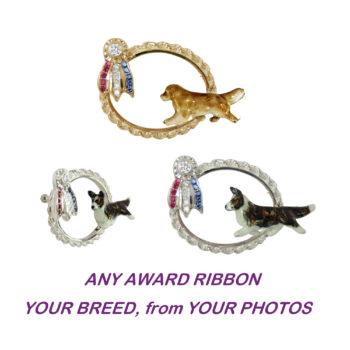 Best in Show Ribbon Charm Featuring YOUR Breed Enameled from YOUR PHOTOS !!