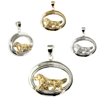Golden Retriever 14K Gold, Sterling, or Combo Accented Glossy Oval