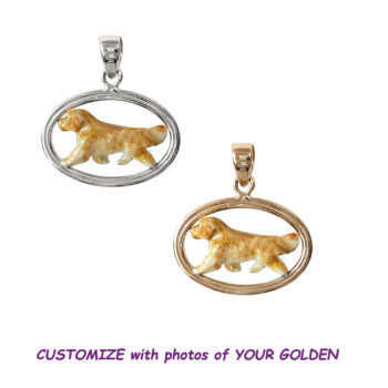 Golden Retriever with Custom Enamel in Double Oval with 14K Gold or Sterling