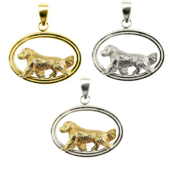 Golden Retriever in Double Oval Pendant Charm with 14K Gold and Sterling Choices