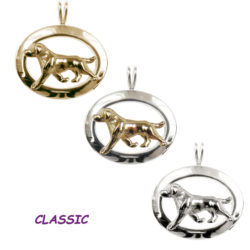 14K Gold, Sterling, or Combo Labrador Retriever Trotting in Narrow Glossy Oval