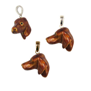 14K Gold or Sterling Large Vizsla Head with Exclusive Enamel Overlay