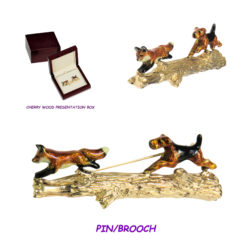 Airedale Terrier Chasing Fox on Log Pin/Brooch in 14K Gold with Custom Enamel Overlay