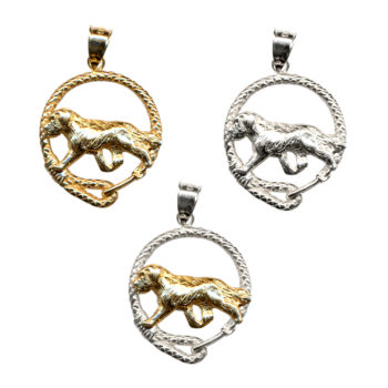 Saint Bernard Trotting in Leash with 14K Gold, Sterling Silver, or Combo