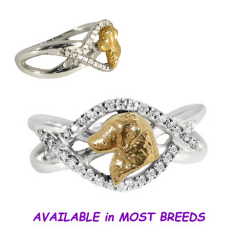 Golden Retriever Ring Sparkling with Diamonds in 14K White and Yellow Gold